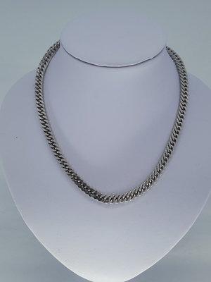 Edelstaal brede Gourmetschakel ketting, L 45 cm