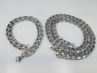 Heren ketting & armband, lang, 12,5 grove gourmet, edelstaalset