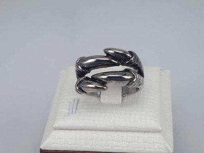 Edelstaal Ringen, Gothic, 2 teens adelaarklauw, 2 Stuks