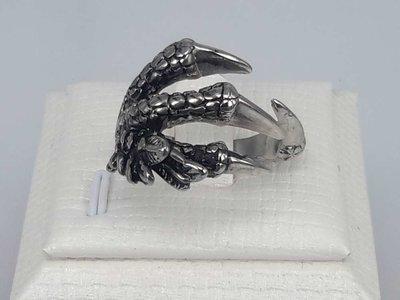 Edelstaal Ringen, Gothic, adelaarklauw, 2 stuks