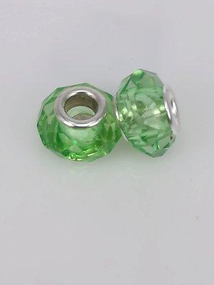 Bedel pandorastyle facet glas, groen, per 16