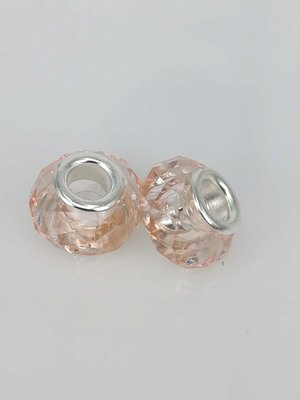Bedel pandorastyle facet glas, licht roze, per 16