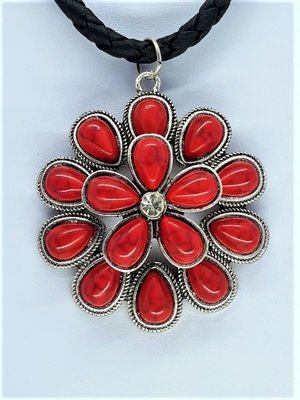 Dubbele 2D rozet bloem, rode Jaspis edelsteen druppel.