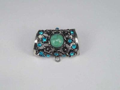 Koppelstuk voor sjaalhanger: metaal met turquoise gem-steen