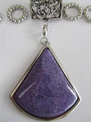 Hanger compleet met koppelstuk en ringen: driehoekige paarse