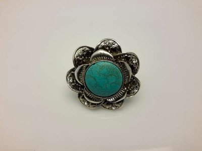 Sjaal ring, bloem, turquoise gemsteen