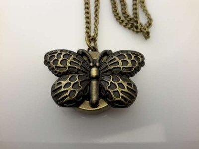 Ketting met klokje, bronskleur, deksel in vlinder