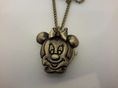Ketting met klokje, bronskleur, deksel in Minnie Mouse