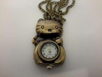 Ketting met klokje, bronskleur, Hello Kitty