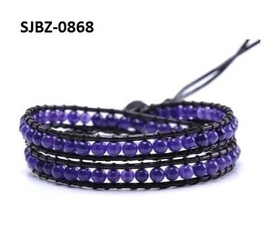 Wrap armband, zwart leer, ronde violet Agaat edelstenen kralen