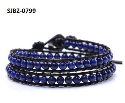 Wrap armband, zwart leer, ronde blauwe Lapis edelstenen kralen