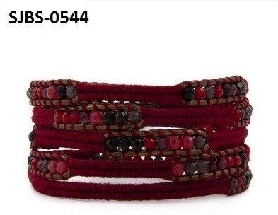 Vermeil Wrap armband, bruin leer, donkerrode band met gemixde semi-precious-Agaat edelstenen kralen