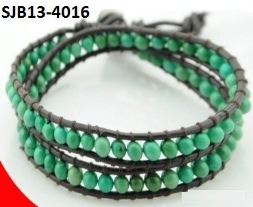 Wrap armband, bruin leer, ronde groene Turkoois edelstenen kralen