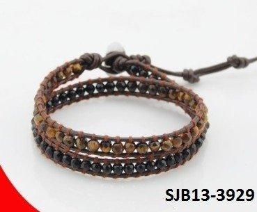 Wrap armband, zwart leer, ronde bruine Tijgeroog en zwarte Agaat edelstenen kralen