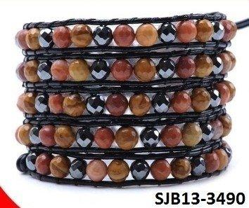 Wrap armband, zwart leer, ronde zwarte facet kristal kralen en meerkleurige Agaat gemstenen