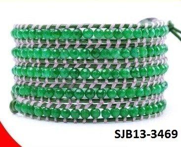 Wrap armband, lichtgroen leer, ronde mintgroene Agaat edelstenen kralen