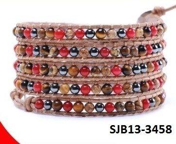 Wrap armband, caramel leer, ronde meerkleurige gem-edelstenen kralen