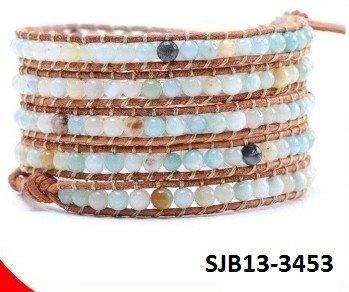 Wrap armband, caramel leer, ronde fijn-dradige (multi-strand) Agaat edelstenen kralen