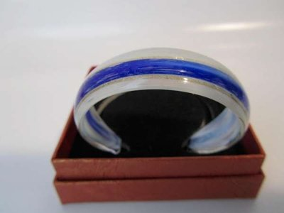 Murano armband, kleurencombinatie transparant, wit, goud, blauw