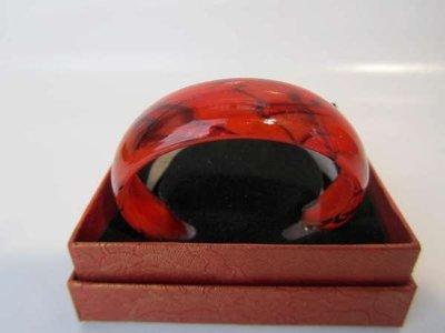 Murano armband, kleurencombinatie transparant, rood, zilver, zwart