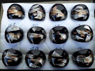 Ring, zwarte murano met zilver en goud accenten, 12 stuks