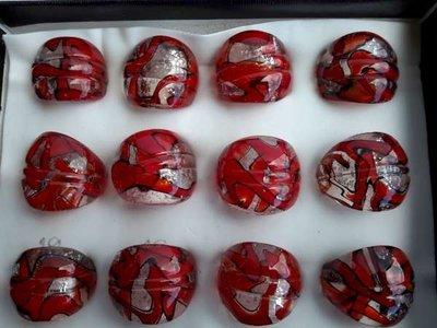 Ring, rode murano met zilver, zwart,12 stuks