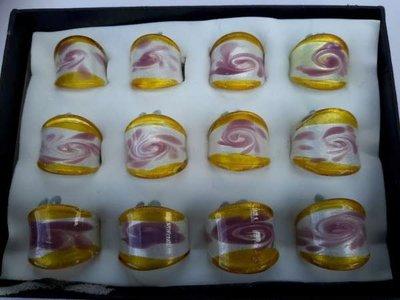 Ring, witte murano met goud, wit, roze, 12 stuks