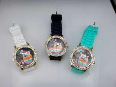 Horloge, goudkleurig, siliconenband, wijzerplaat uil, 3 kleuren