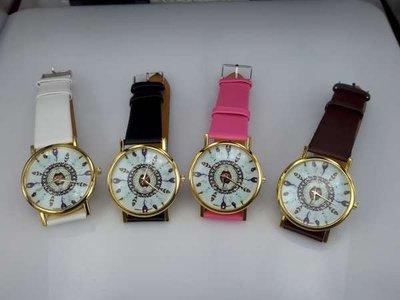 Horloge, goudkleurig met PU leren band, veertjes op wijzerplaat, 4 kleuren