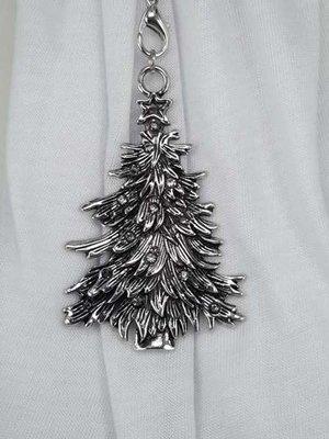 Hanger: donker metaal, dennenboom, ster, strasssteentjes
