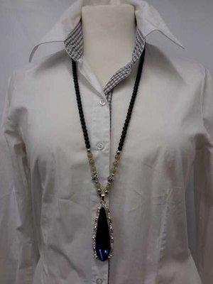 Kralenketting, 75 cm, zwart en zilverkl. kralen en beige edelsteen in 4 kleur verkrijgbaar.