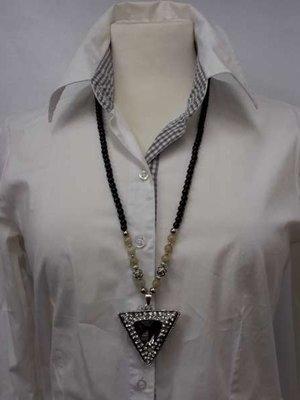 Kralenketting, 75 cm, zwart en zilverkl. kralen en beige edelsteenkralen, 2 kleur verkrijgbaar.