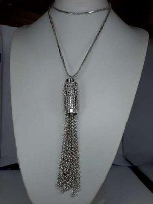 Ketting, 70 cm, zilverkleur, tube met strass en 10 kettinkjes