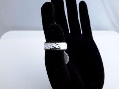 Edelstaal ring, witte bladlijnen doos 36 stuk