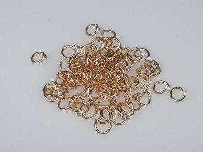Open ringetje, 7 mm, goudkleurig, per 100