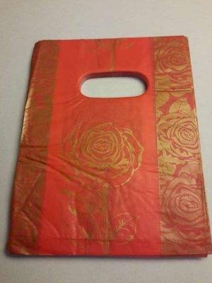 Plastic draagtasjes, rood, goudkl, rozen, per 100
