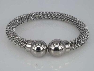 Edelstaal armband, ronde slaven armband, ringetjes en eindbollen
