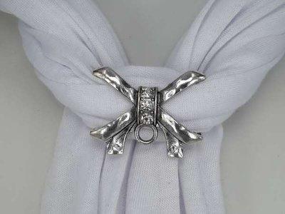 Koppelstuk voor sjaalhanger: metaal, strikje met strass