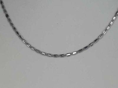 Ketting, 43 cm, zilverkleur, platte ovale schakeltjes met bewerkt randje