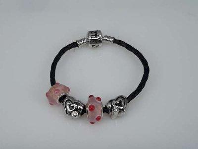 Leren armband, oa pandora & Elemento bedels