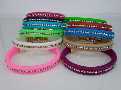 Siliconen armband met strass, 11 kleuren