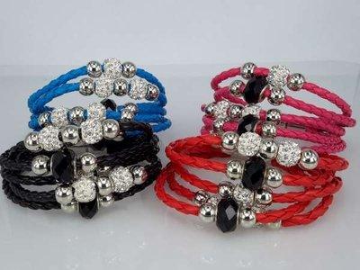 Armband, 5-delig gevlochten, kralen en shamballa's