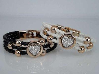 Armband, 3-delig gevlochten, rose-goudkleurige kralen
