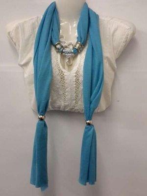 Sjaal met koppelstuk turquoise, per 6
