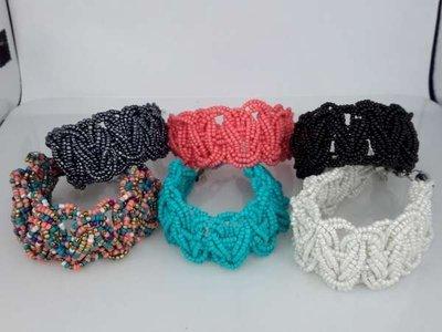 Bohemien style handgemaakte gevlochten kralen armband, 6 kleuren