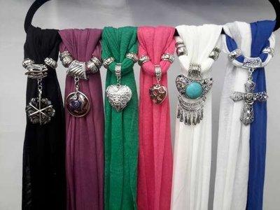 Sjaals met hangers, mix van 6 stuks