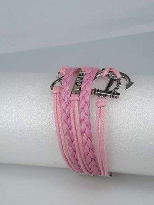 Armband róze vlecht infinity met love, anker, lus.