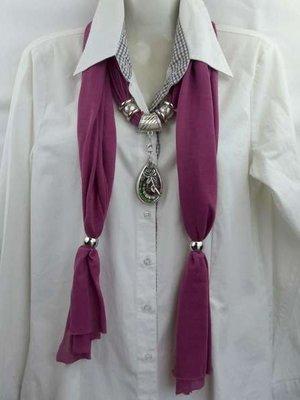 Sjaal + druppel hanger, fossiel murano, roos