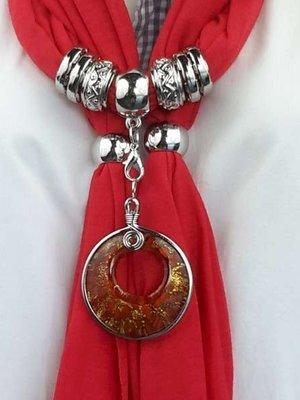 Sjaal + ronde murano hanger, oog, bladergoud