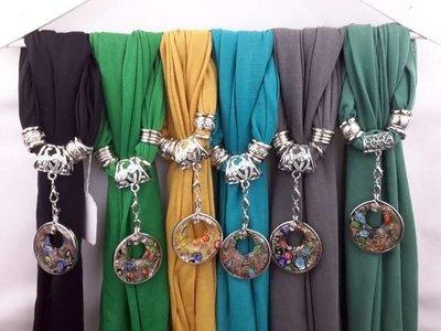 Sjaal + ronde murano, groot oog, bloemen veel kleurig
